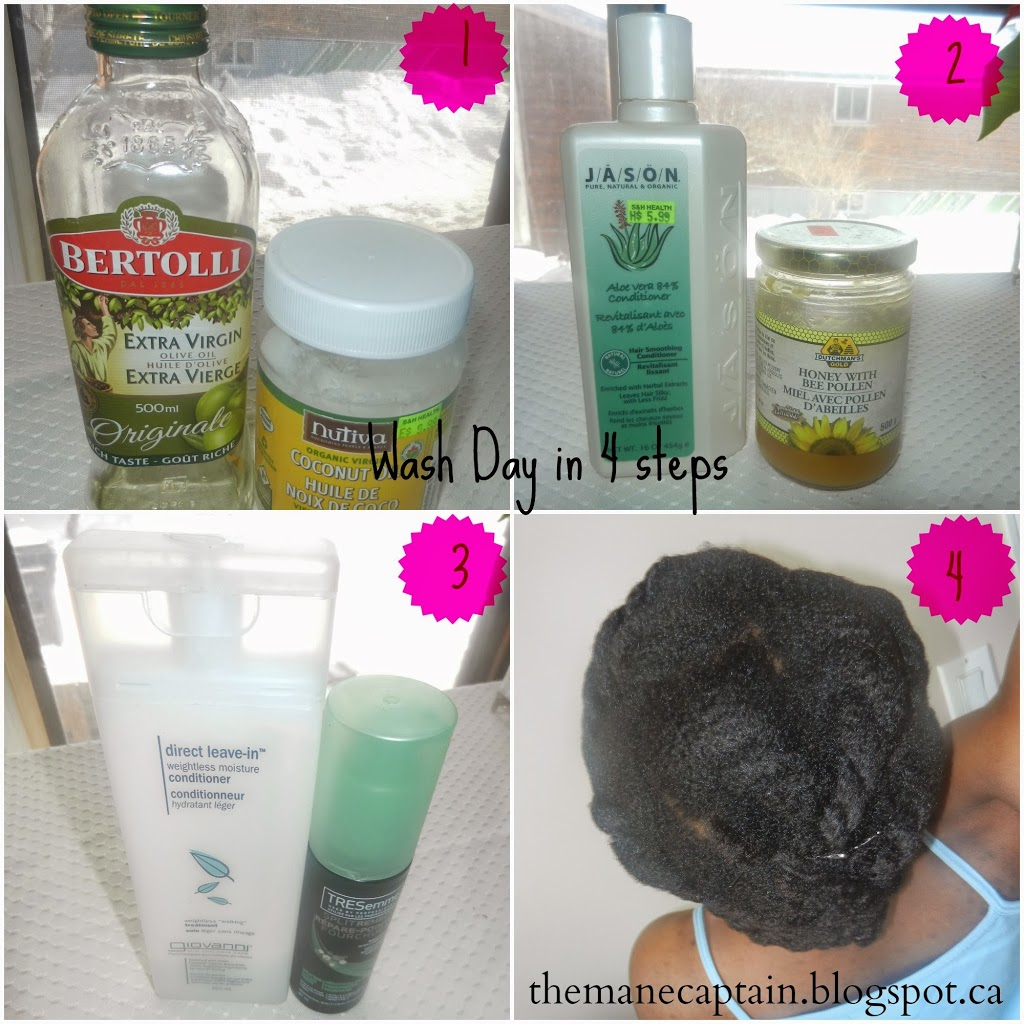 Natural Hair Wash Day in 4 Steps | Hot Oil, Deep Condition, Moisturize & Stretch