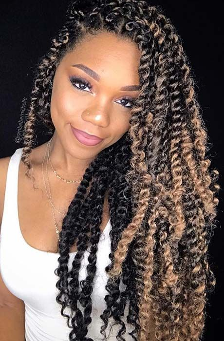 crochet passion twist hairstyle with color