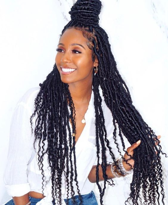 long faux locs with top knot