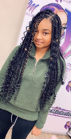teenager bohemian box braids