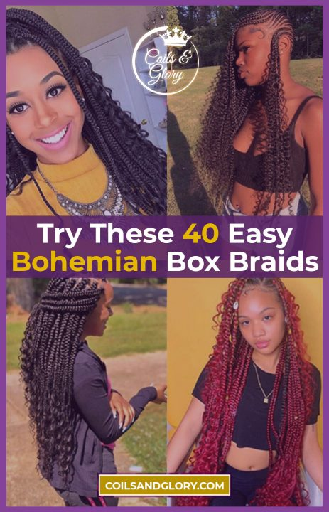 bohemian box braids styles on natural hair