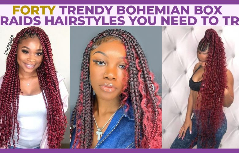 bohemian box braids on natural hair