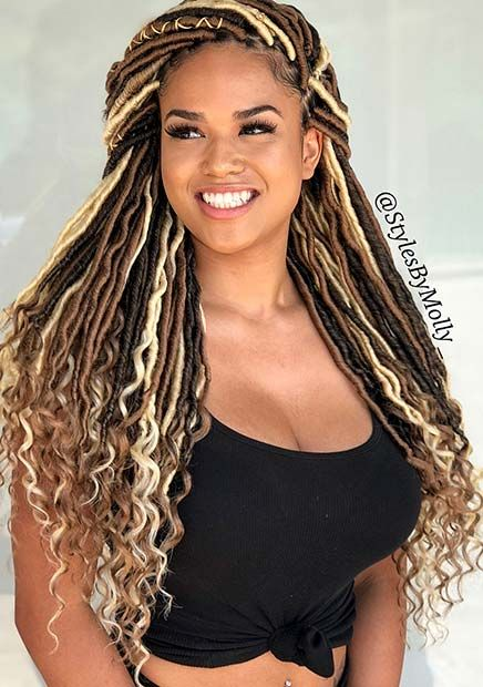 faux locs with curly ends