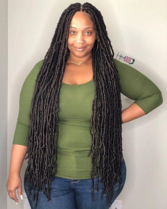 bohemian long faux locs on 4c hair