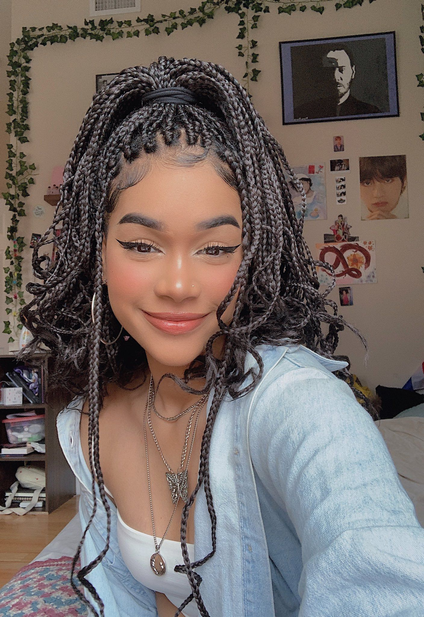 box braids with curly ends