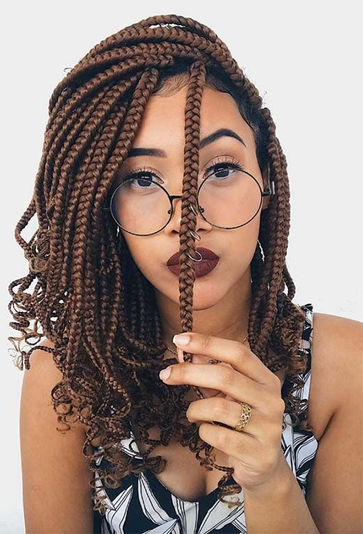 box braids curly ends