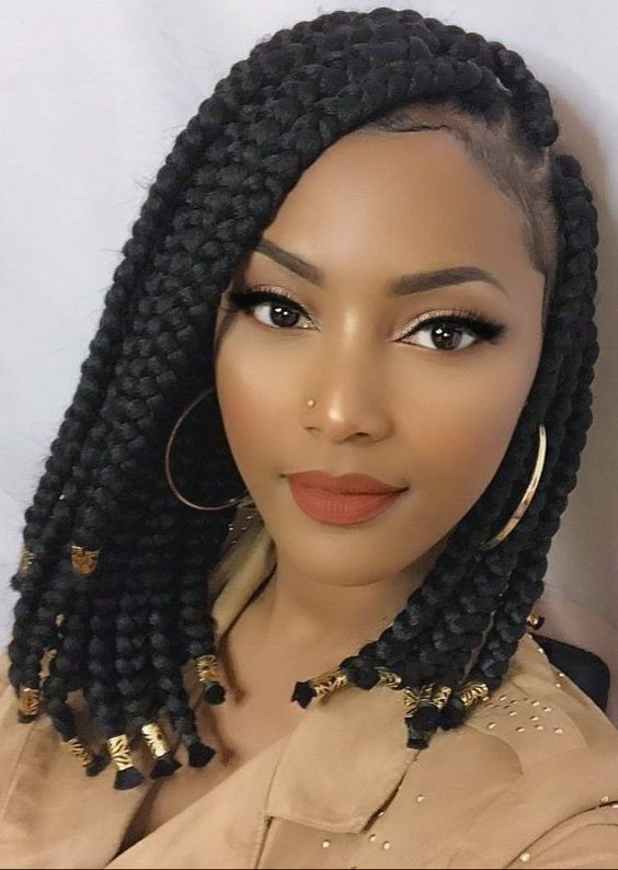 box braid with beads at the end