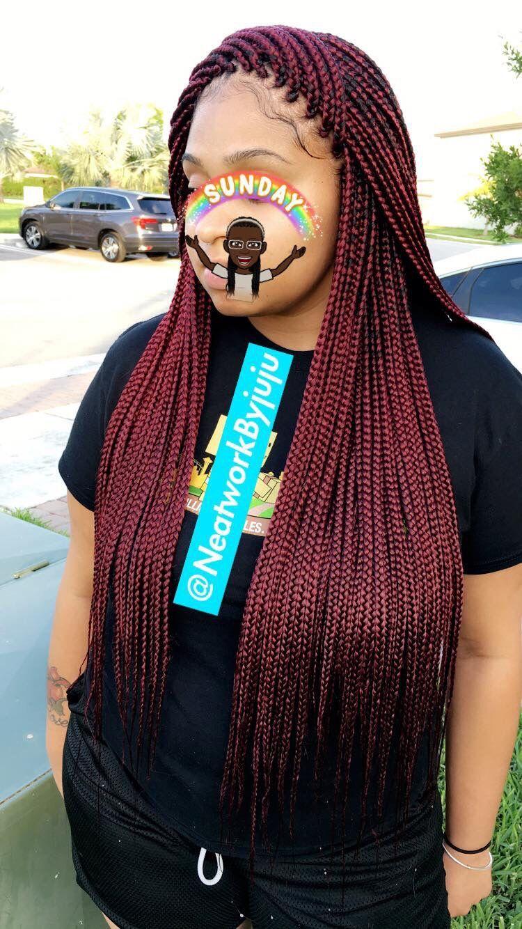 colored box braid on brown skin